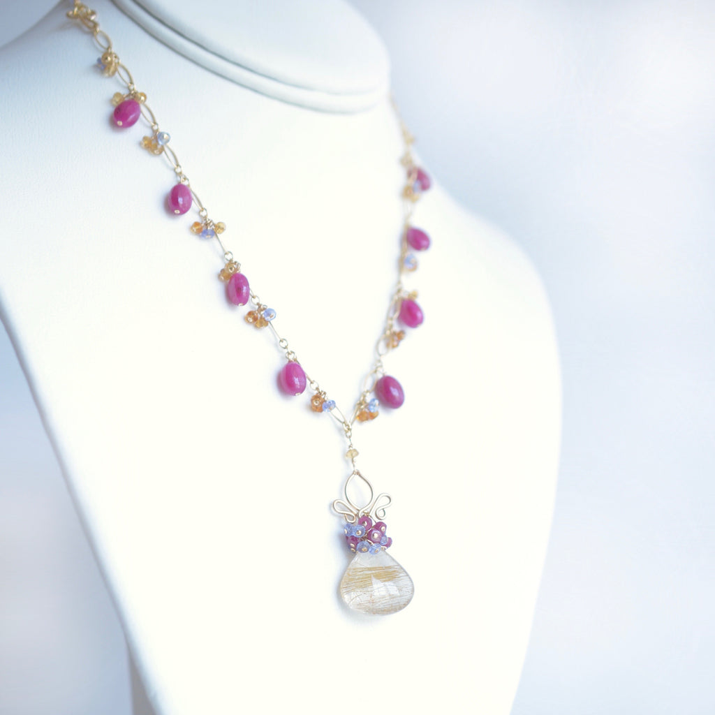 Millie - Rutilated Quartz, Pink Sapphires, Tanzanite, Citrine 14k Gold Filled Necklace