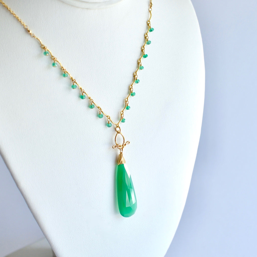 Natalie - Green Onyx, 14k Gold Filled Necklace