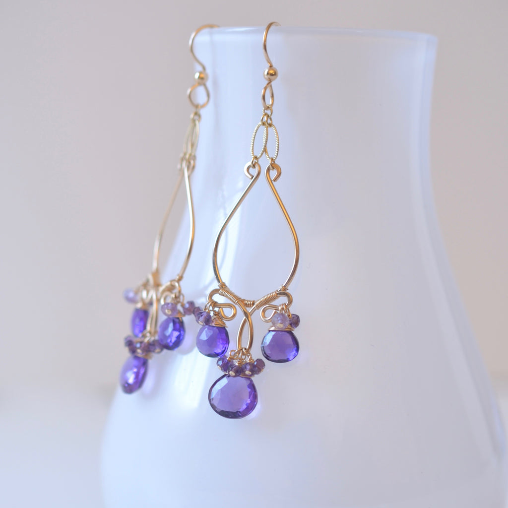 Natasha - Amethyst, 14k Gold Filled Chandelier Earrings