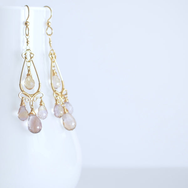 Nina Earrings - Ametrine Teardrop Gold Filled Earrings