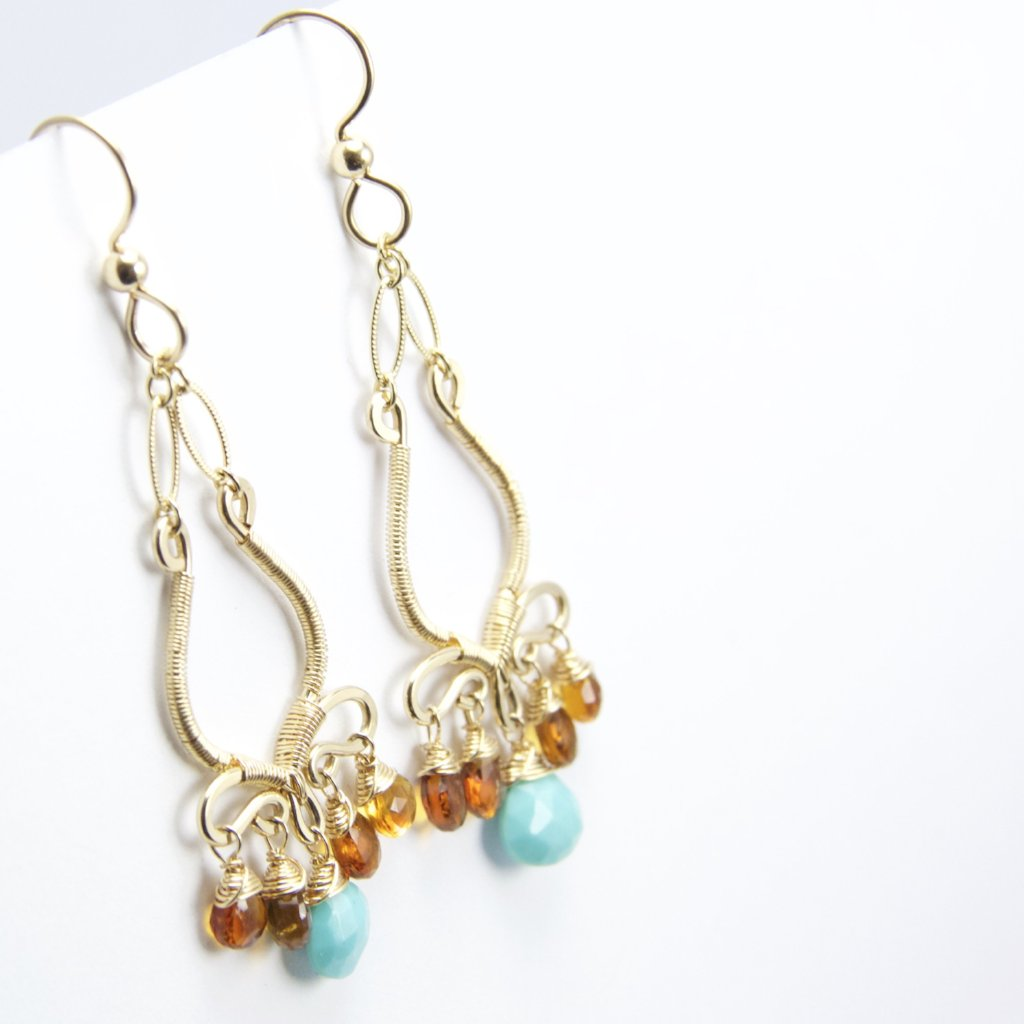 Nyla - Turquoise, Garnet, 14k Gold Filled Earrings