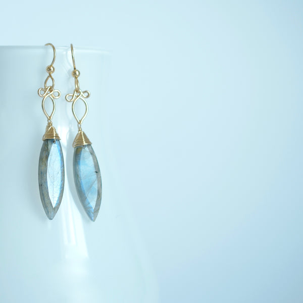 Octavia - Labradorite, 14k Gold Filled Earrings