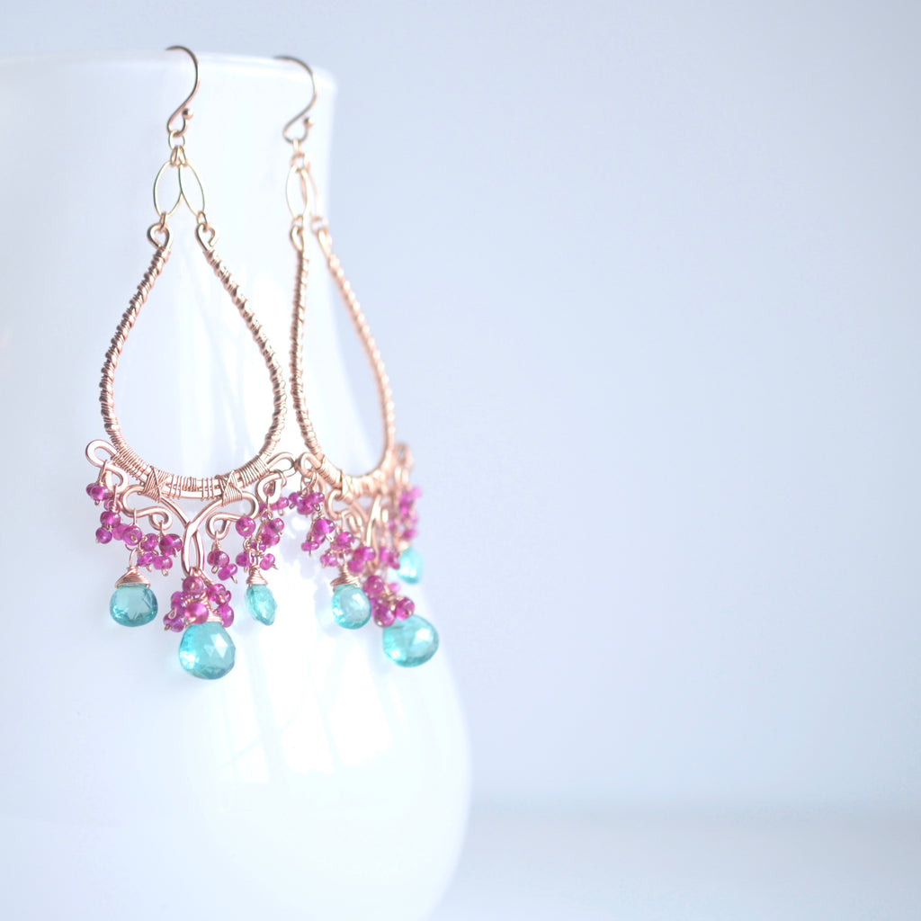 Ophelia - Emerald, Pink Sapphires, 14k Rose Gold Filled Chandelier Earrings