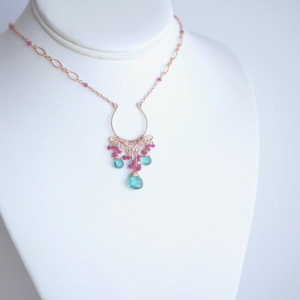 Ophelia - Emerald, Pink Sapphires, 14k Rose Gold Filled Necklace