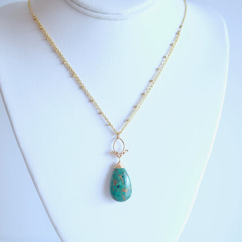 Pamela - Copper Azurite, 14k Gold Filled Necklace