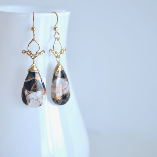Pamela - Copper Calcite and Obsidian and 14k Gold Filled Earrings