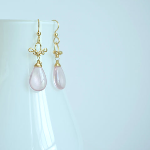 Pamela - Rose Quartz, 14k Gold Filled Earrings