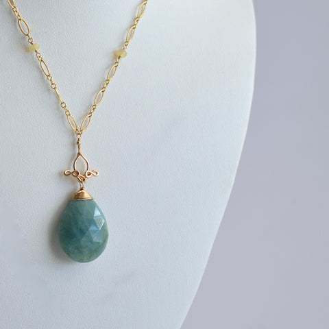 Pamela #2 - Aquamarine, Opals, 14k Gold Filled Necklace