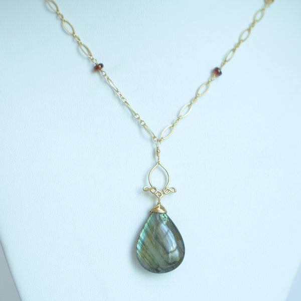 Pamela #2 - Labradorite and Sapphires, 14k Gold Filled Necklace