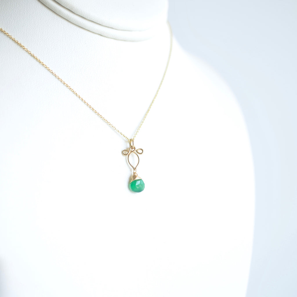 Petite Arabella - Green Onyx, 14k Gold Filled Necklace