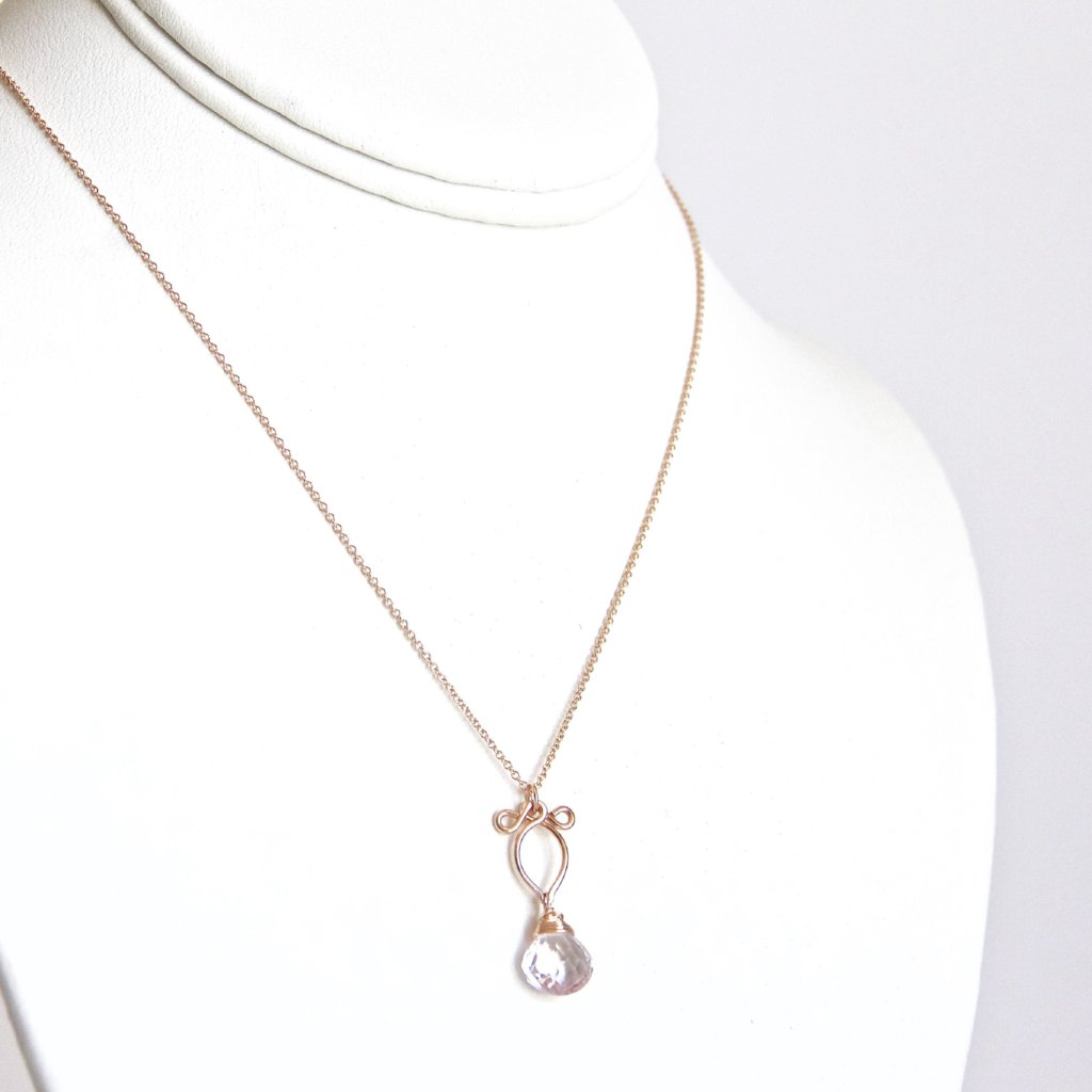 Petite Arabella -  Amethyst, 14k Rose Gold Filled Necklace