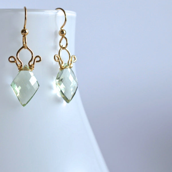 Petite Celine - Prasiolite, 14k Gold Filled Earrings