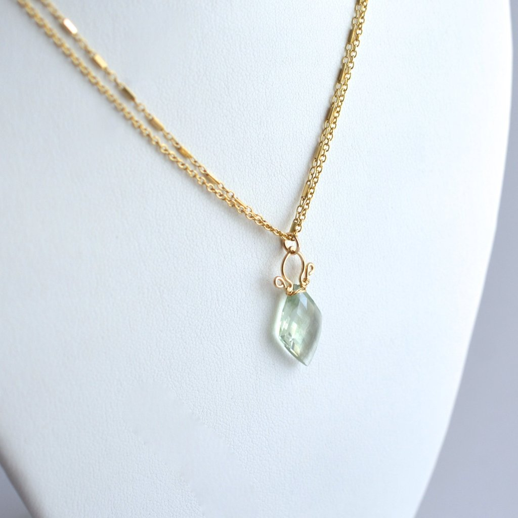 Petite Celine - Prasiolite, 14k Gold Filled Necklace