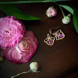 Petunia - Tourmaline, Orange Sapphires, 14k Gold Filled Small Earrings