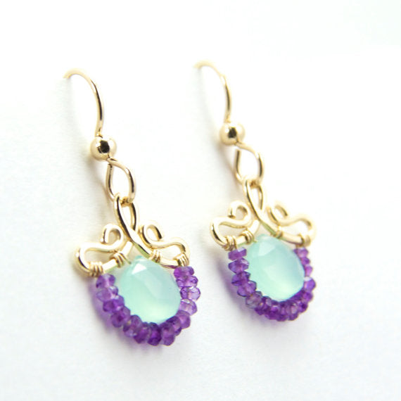 Petunia - Chalcedony, Amethyst, 14k Gold Filled Earrings