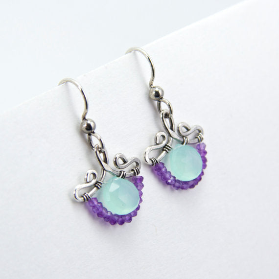 Petunia - Chalcedony, Amethyst, Sterling Sliver Earrings
