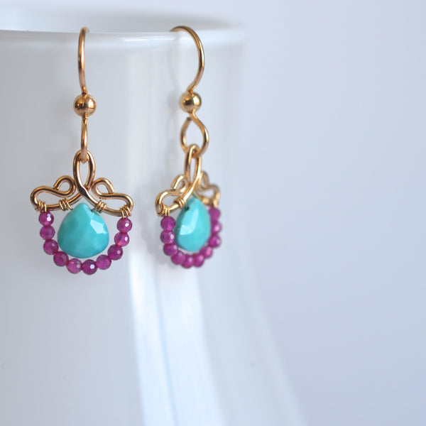 Petunia - Turquoise, Agate, 14k Gold Filled Small Earrings