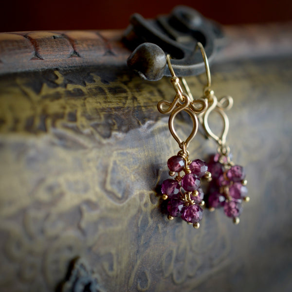 Phoebe - Garnet, 14k Gold Filled Earrings