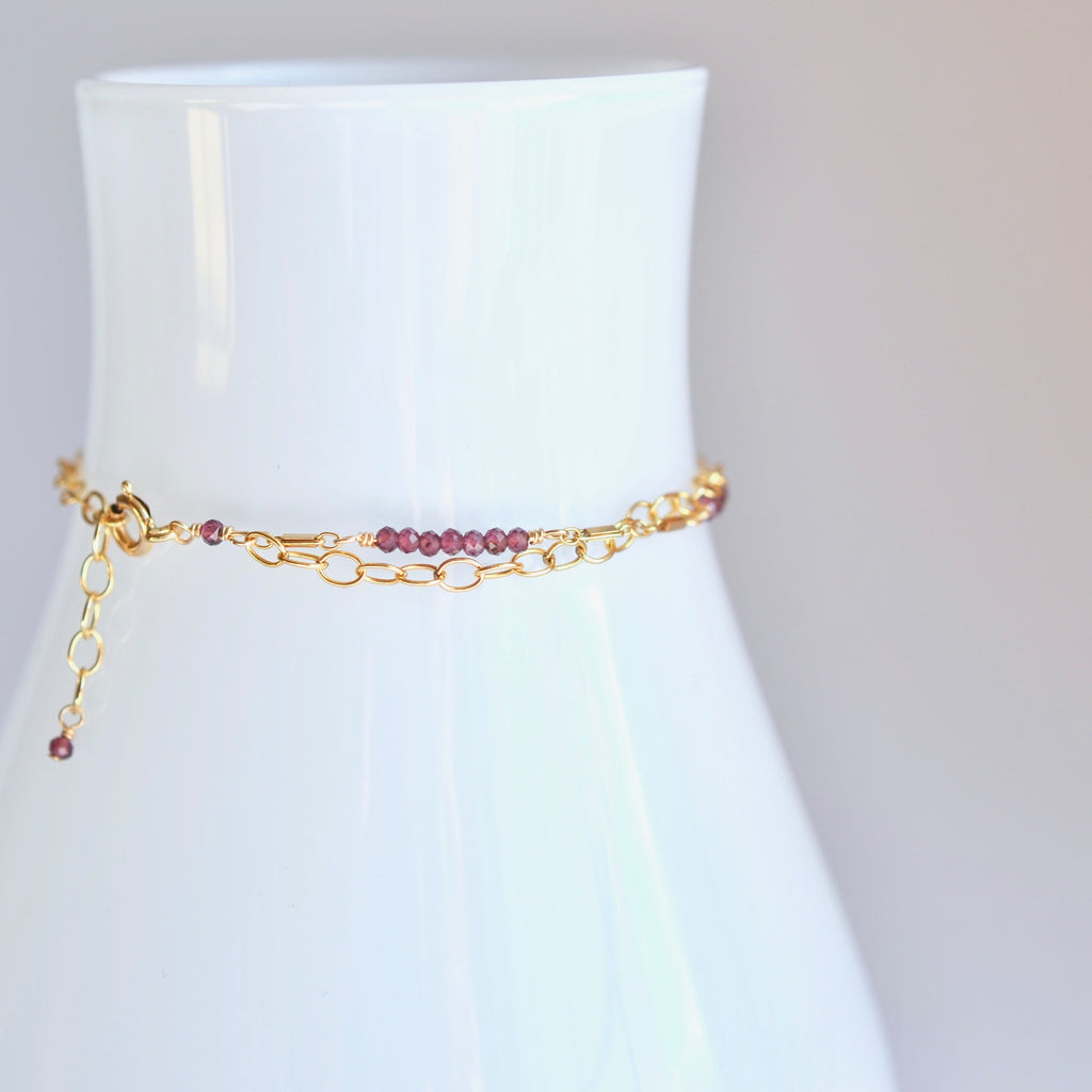 Piper - Rhodolite Garnet, 14k Gold Filled Bracelet