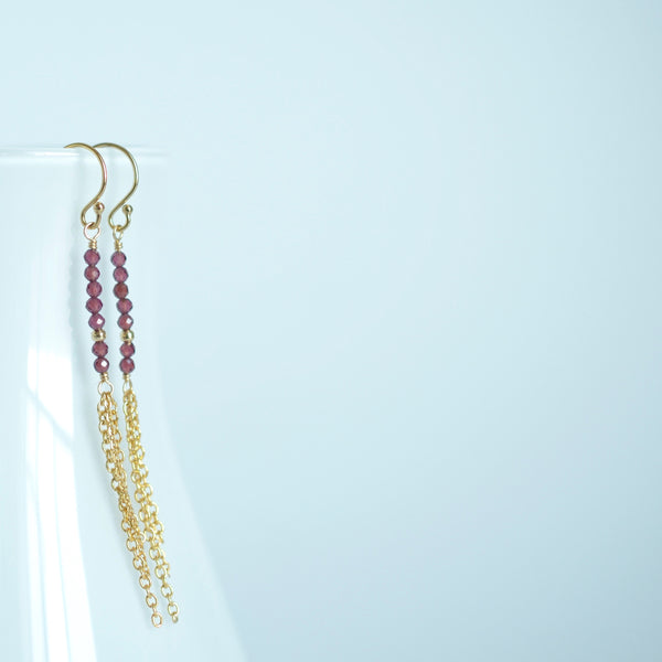 Piper - Rhodolite Garnet, 14k Gold Filled Earrings