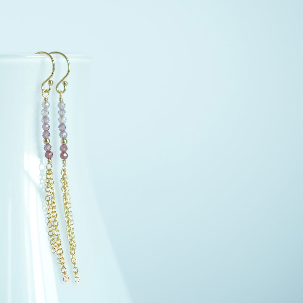 Piper - Spinel, 14k Gold Filled Tassel Earrings