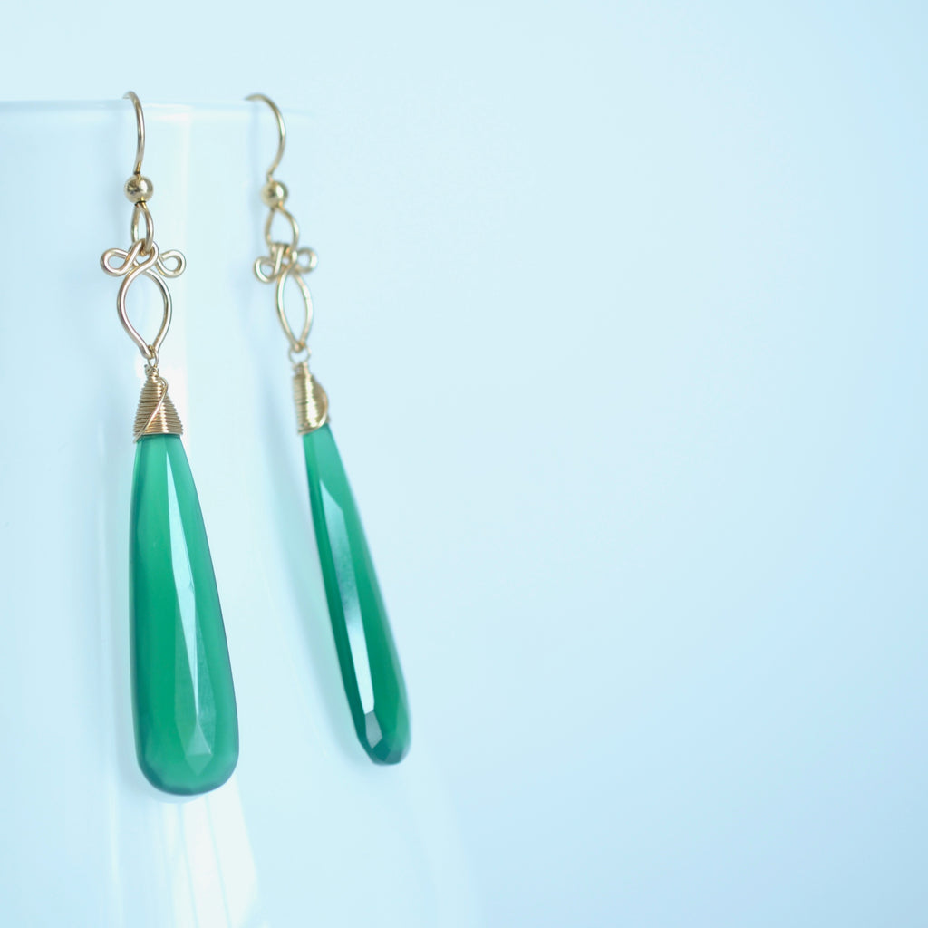 Preeda - Green Onyx, 14k Gold Filled Earrings