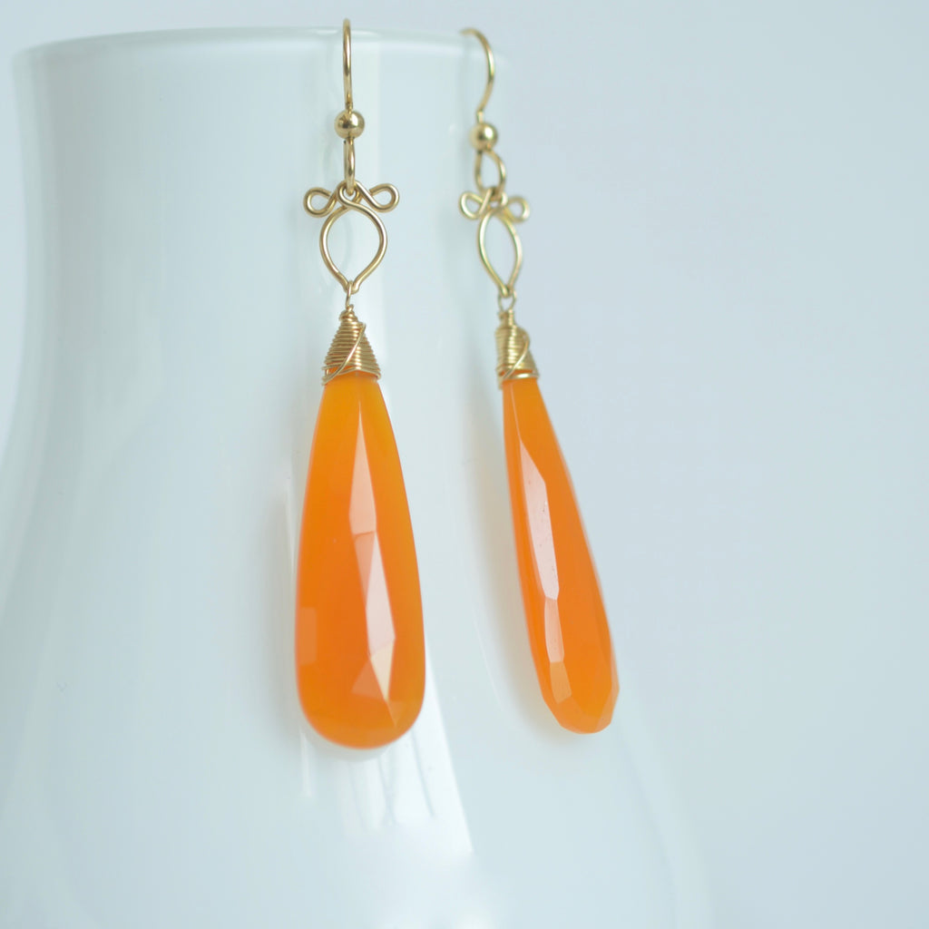 Preeda - Orange Chalcedony, 14k Gold Filled Earrings
