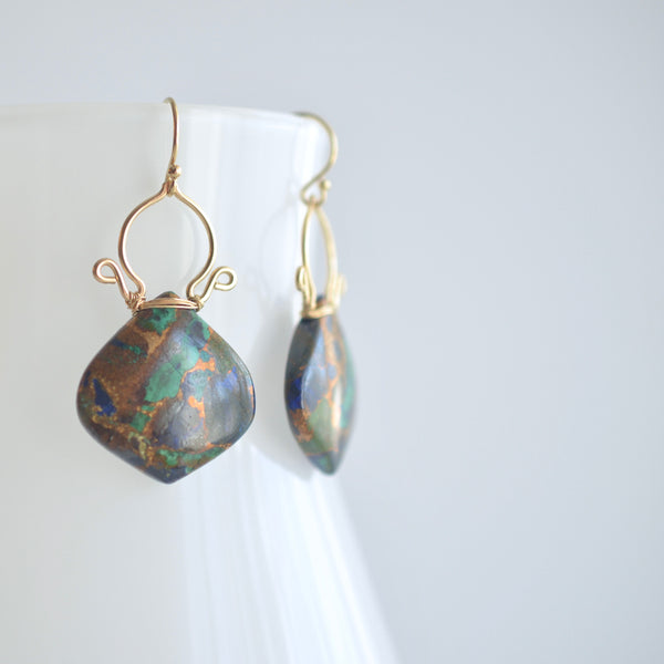 Ramona - Copper Azurite Malachite,  14k Gold Filled Earrings