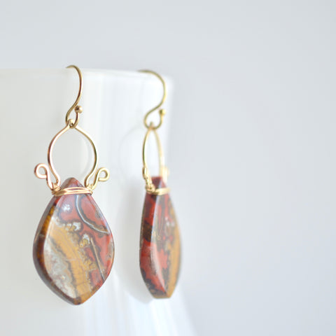 Ramona - Fire Agate, 14k Gold Filled Earrings