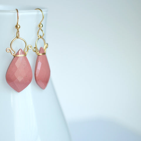 Ramona - Pink Mookaite Jasper, 14k Gold Filled Earrings