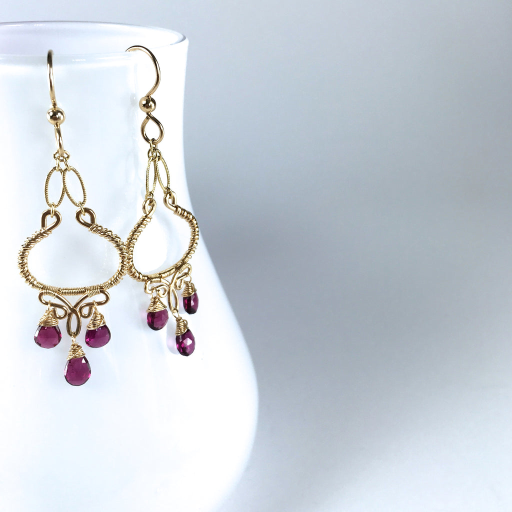 Layla #2 - Garnet, 14k Gold Filled Earrings