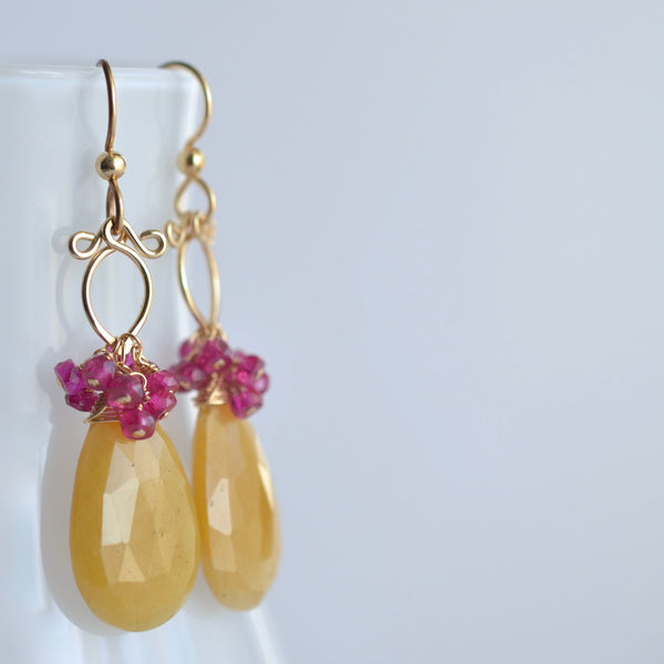 Rita - Aventurine, Pink Sapphires, 14k Gold Filled Earrings