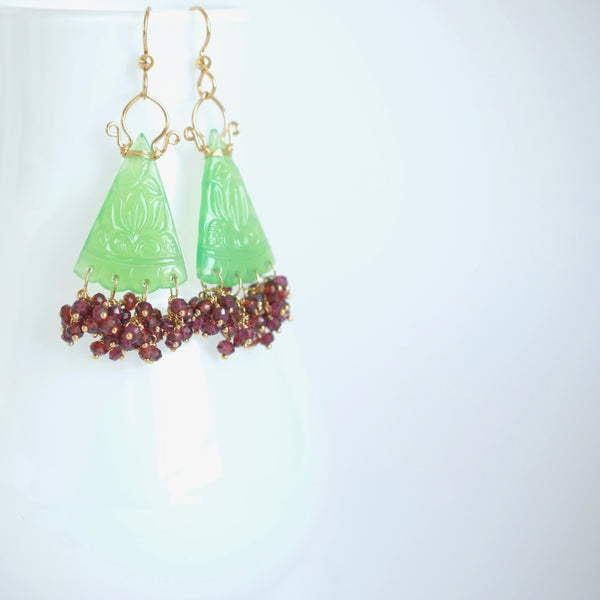 Rosario  - Chrysoprase, Garnet 14k Gold Filled Earrings