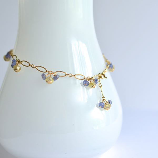 Liliana - Rutilated Quartz, Tanzanite 14k Gold Filled Bracelet
