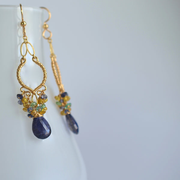 Sabelita -Iolite, Sapphhires, Emeralds 14k Gold Filled Earrings