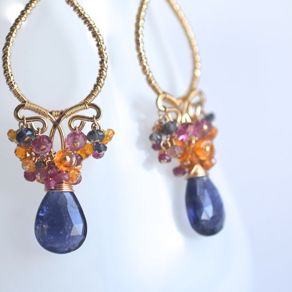 Sabella -Iolite, Tourmalines, Sapphhires 14k Gold Filled Earrings