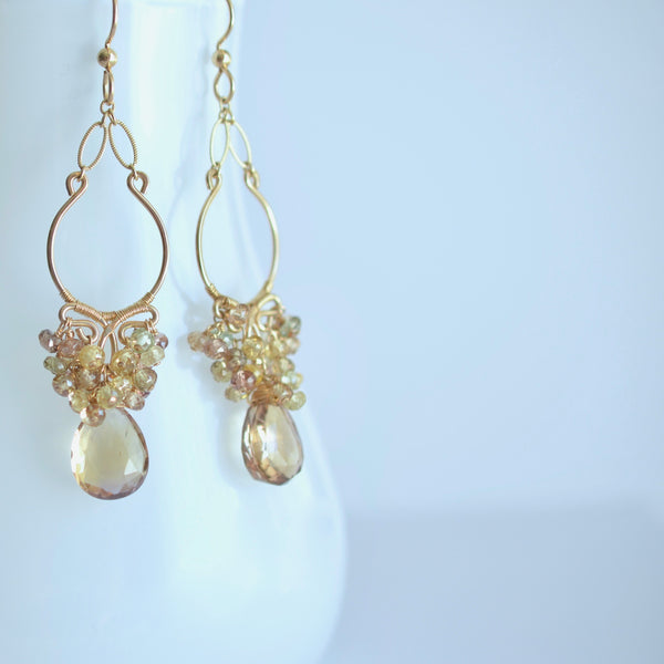 Sabina - Ametrine, Zircon 14k Gold Filled Earrings