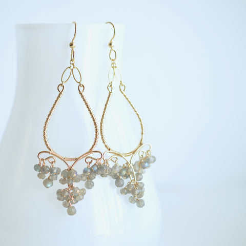 Sabrina - Labradorite, Gold Chandelier Earrings