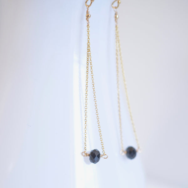 Salem - Black Spinel, 14k Gold Filled Earrings
