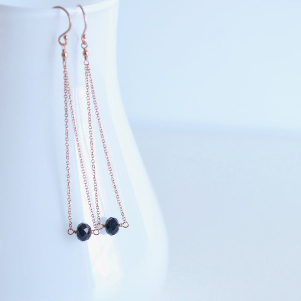 Salem - Black Spinel, 14k Rose Gold Filled Earrings