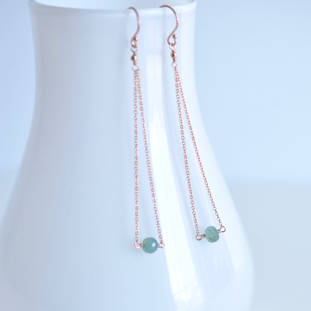 Salem - Grandidierite, 14k Rose Gold Filled Earrings