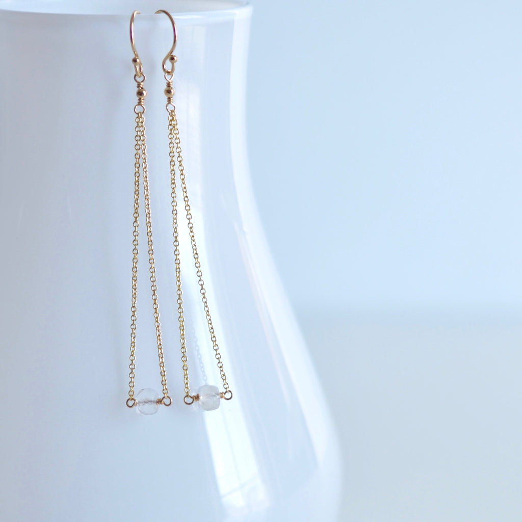 Salem - Moonstone, 14k Gold Filled Earrings