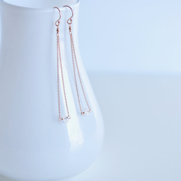 Salem - Moonstone, 14k Rose Gold Filled Earrings