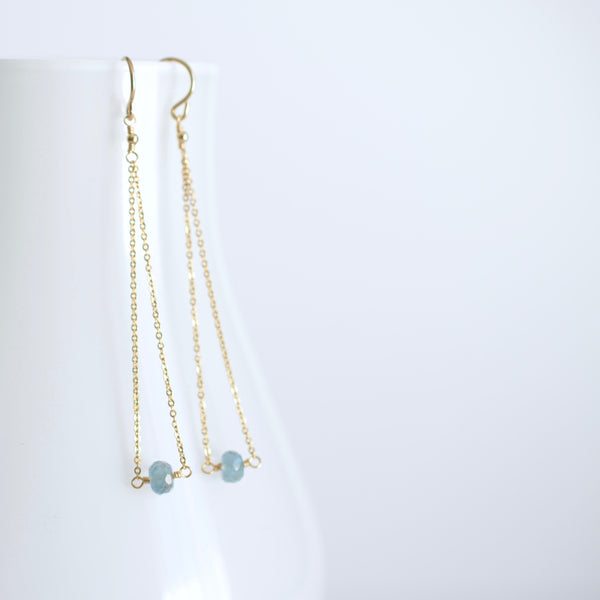 Salem - Moss Aquamarine, 14k Gold Filled Earrings