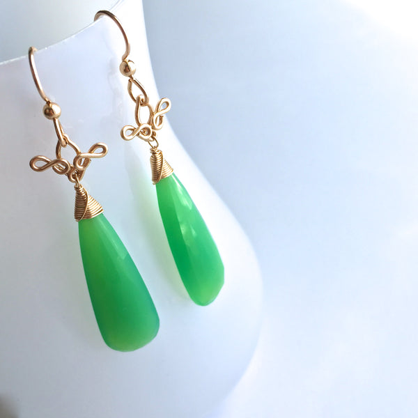 Salome - Chrysoprase, 14k Gold Filled Earrings