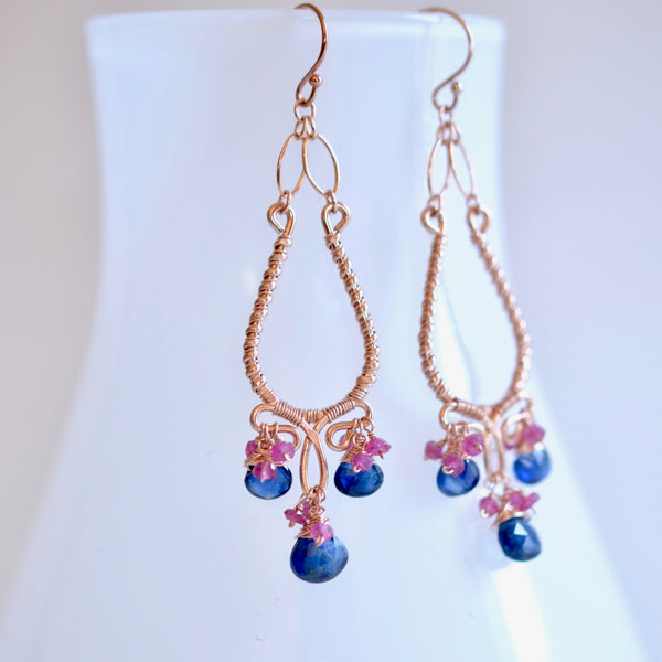 Selena - Kyanite, Pink Sapphires, 14k Rose Gold Filled Chandelier Earrings