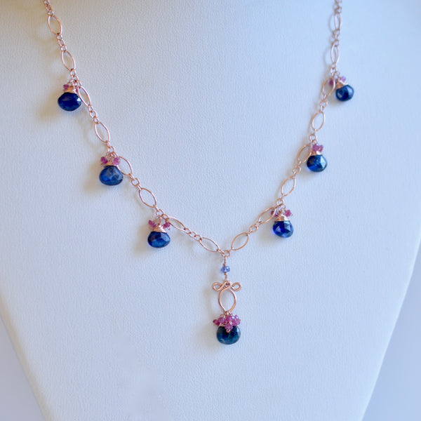 Selena - Kyanite, Pink Sapphires, 14k Rose Gold Filled Necklace