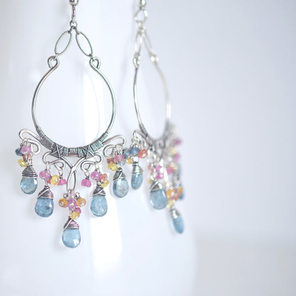Sienna - Aquamarine, Multi Color Sapphires, Sterling Silver Earrings