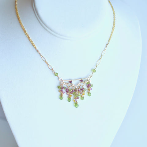 Sienna - Peridot, Rhodolite Garnet, Pink Tourmalines, Citrines, 14k Gold Filled Necklace