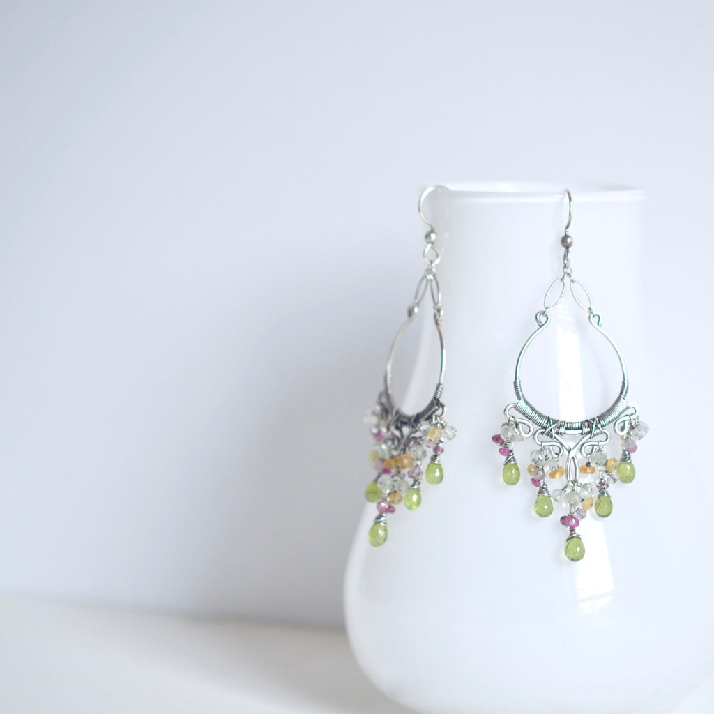 Sienna - Peridot, Rhodolite Garnet, Pink Tourmalines, Citrines, Sterling Silver Earrings
